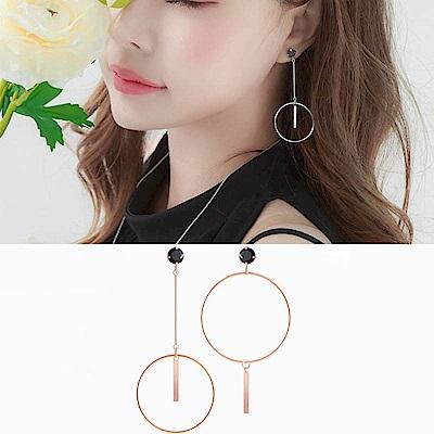 梨花HaNA 韓國925銀大圈几何細緻黑寶石耳環
