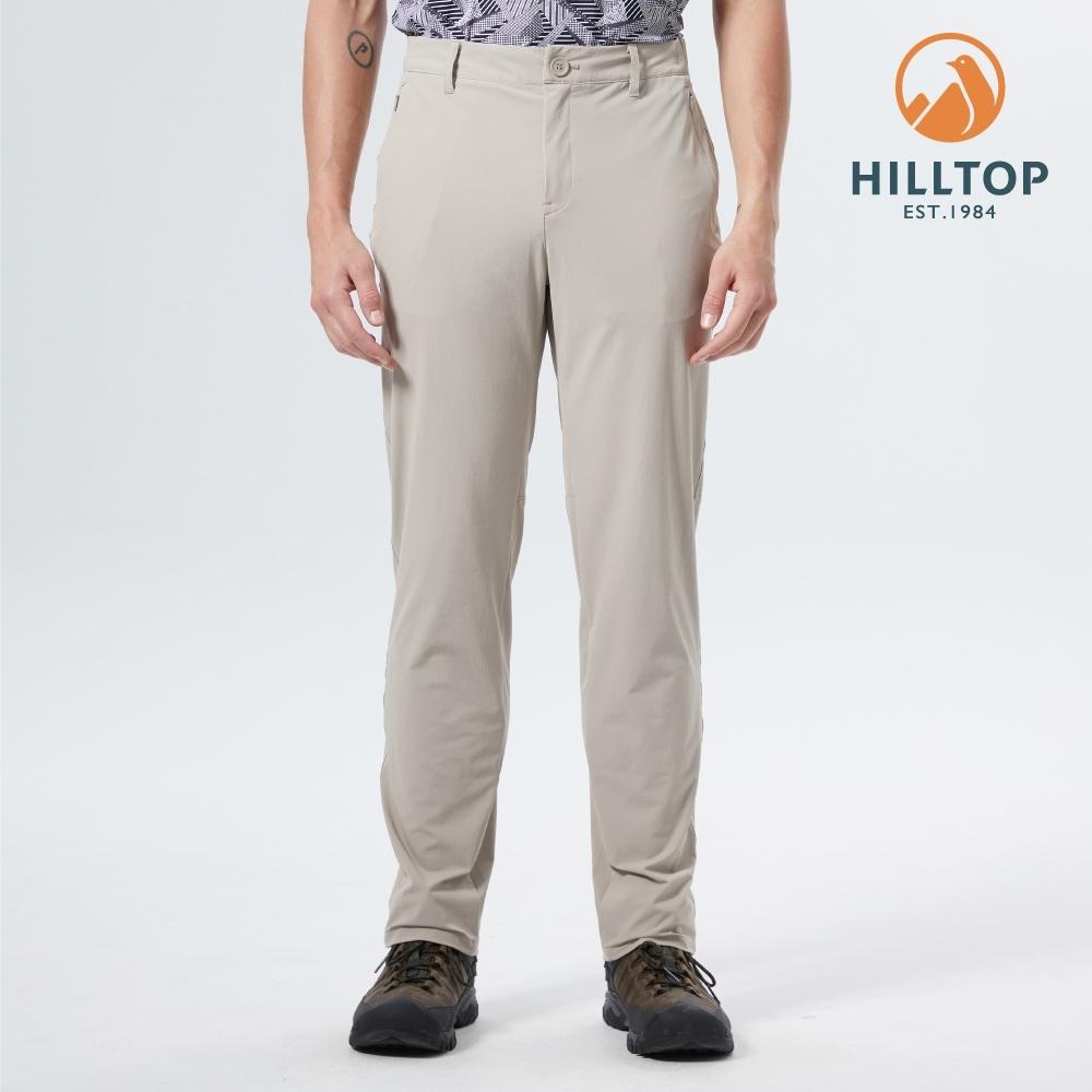 【hilltop山頂鳥】男款超潑水抗UV彈性機能長褲S07MD8卡其