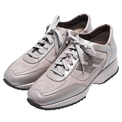HOGAN 品牌H LOGO水鑽鑲嵌麂皮面料漆皮飾邊綁袋厚底休閒鞋(珍珠灰X粉)