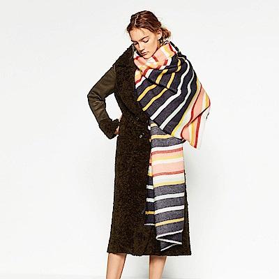 梨花HaNA 歐美活潑色彩條紋羊絨長圍巾
