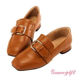 Grace gift-金屬方釦低跟樂福鞋 棕
