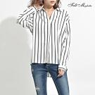 Felt maglietta Basic條紋雪紡襯衫-M