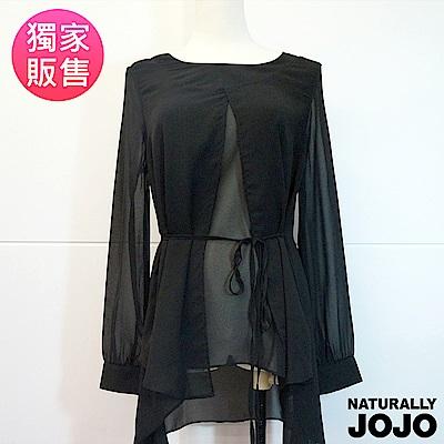 【NATURALLY JOJO】氣質雪紡綁帶上衣(黑)