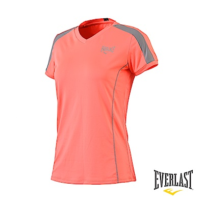 EVERLAST V領機能短袖T恤-女-淺橘