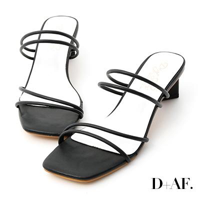 D+AF 夏日美學.二穿法細帶積木跟涼鞋*黑