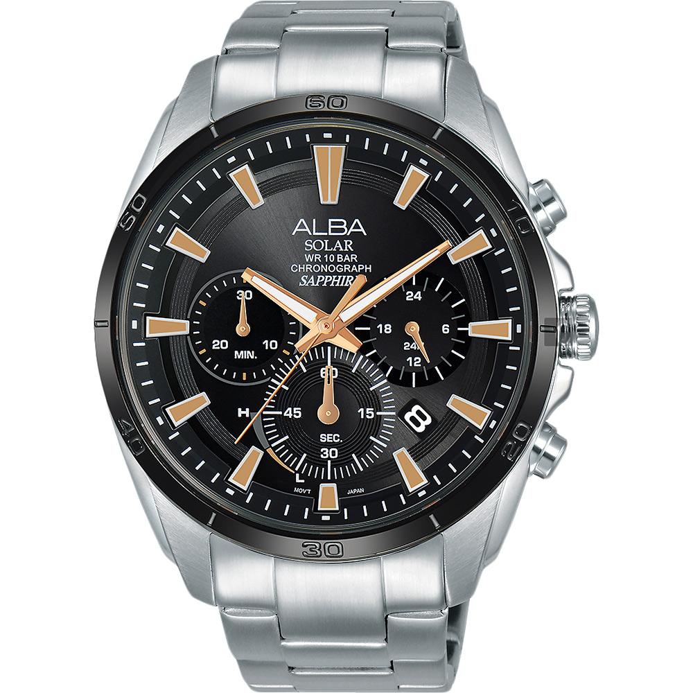 ALBA 雅柏 Solar 太陽能機芯限定款計時手錶(AZ5001X1)-44mm