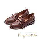 Pineapple Outfitter-MAAIKE 復古學院馬銜釦真皮跟鞋-棕色
