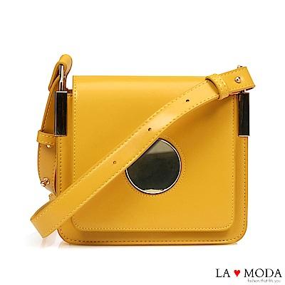 La Moda 人氣注目度滿點大釦飾經典肩背斜背小方包(黃)