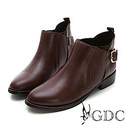 GDC-小巴黎真皮基本款扣環小短靴-咖色