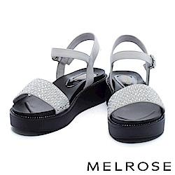 涼鞋 MELROSE 細緻亮澤晶鑽寬版一字帶厚底涼鞋-白
