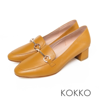 KOKKO - 鎖鍊方頭舒壓羊皮樂福平底鞋- 黃色