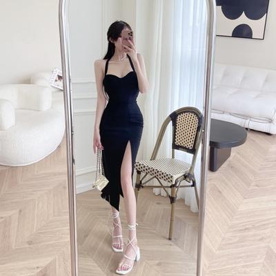 魅惑黑性感迷人繞頸高開衩洋裝S-L-Sexy Devil