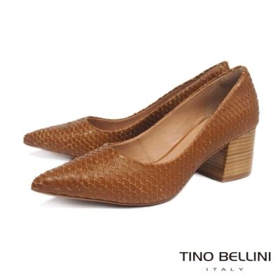 Tino Bellini 巴西進口立體觸感牛皮高跟鞋 _棕