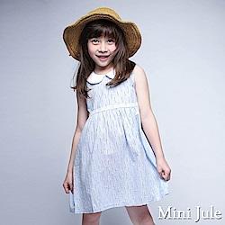 Mini Jule 洋裝 刺繡花草蕾絲裝飾小圓領無袖洋裝(藍)