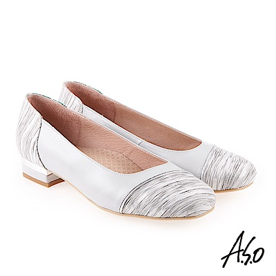 A.S.O 雅緻魅力 職場通勤金蔥羊皮奈米低跟包鞋 灰