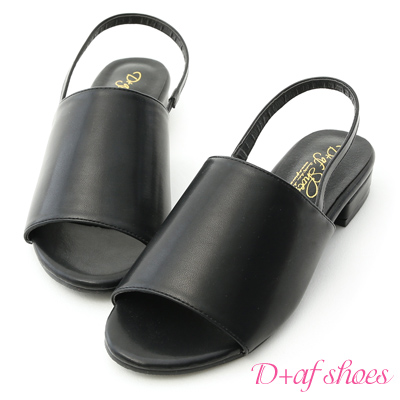 D+AF 完美自我.寬版一字魚口低跟涼鞋*黑