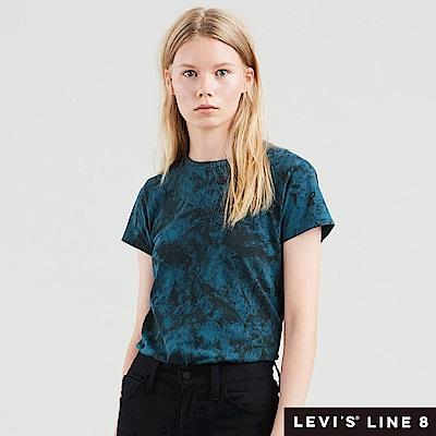 Levis 女款 短袖T恤 Line 8 系列 藍綠色渲染