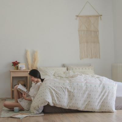 翔仔居家  100%精梳純棉 加大兩用被套床包4件組(遊牧)