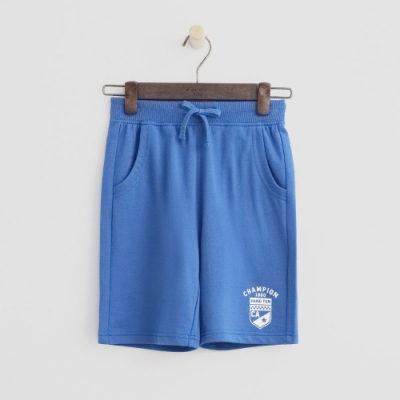 Hang Ten -童裝 - 純色盾牌logo運動棉短褲 - 藍
