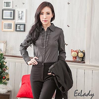 EELADY-OL胸前荷葉線條長袖襯衫(黑色)