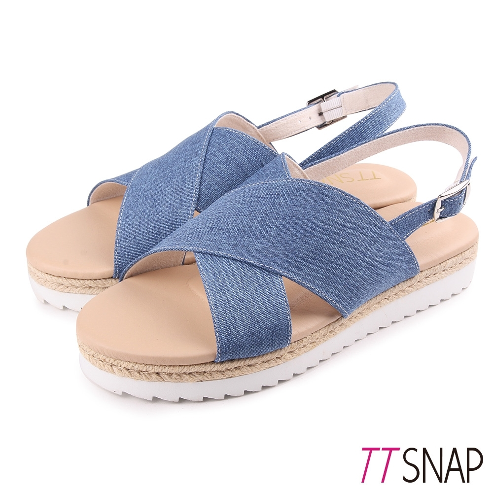 TTSNAP涼鞋-牛仔丹寧交叉厚底涼鞋 深藍