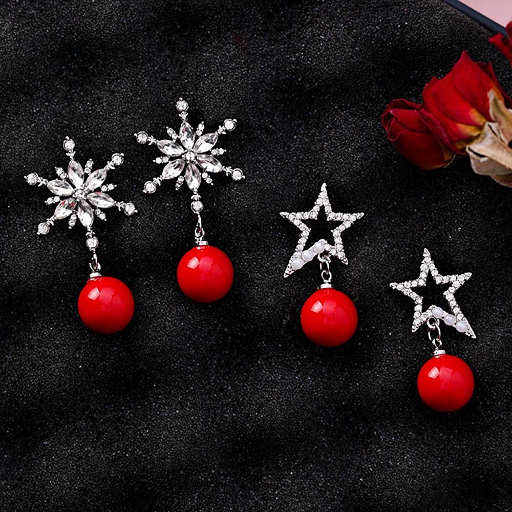 梨花HaNA 韓國耶誕節新年紅全鑽雪花球球耳環