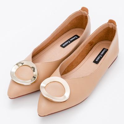 River&Moon中大尺碼-超纖金扣Q軟橡膠平底尖頭鞋-棕