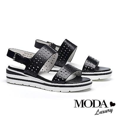 涼鞋 MODA Luxury 率性沖孔撞色底台設計牛皮厚底涼鞋-黑