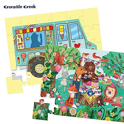 美國Crocodile Creek 迷你造型盒學習拼圖-2入組(冰淇淋車+花園派對)