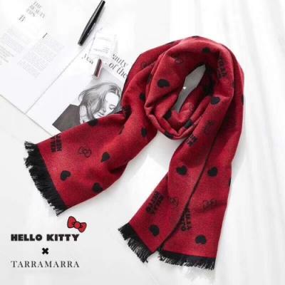 圍巾 HELLOKITTY愛心圖騰雙面羊毛圍巾(紅黑) N2