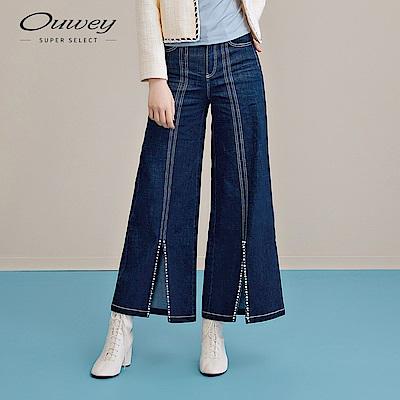 OUWEY歐薇 手工釘珠微開衩寬管牛仔褲(藍)