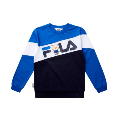 FILA KIDS #WONNIE系列針織長袖上衣-寶藍1TET-8451-AB