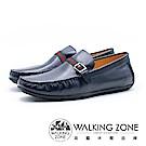 WALKING ZONE 紅綠織帶牛皮開車樂福鞋 男鞋 - 藍(另有棕)