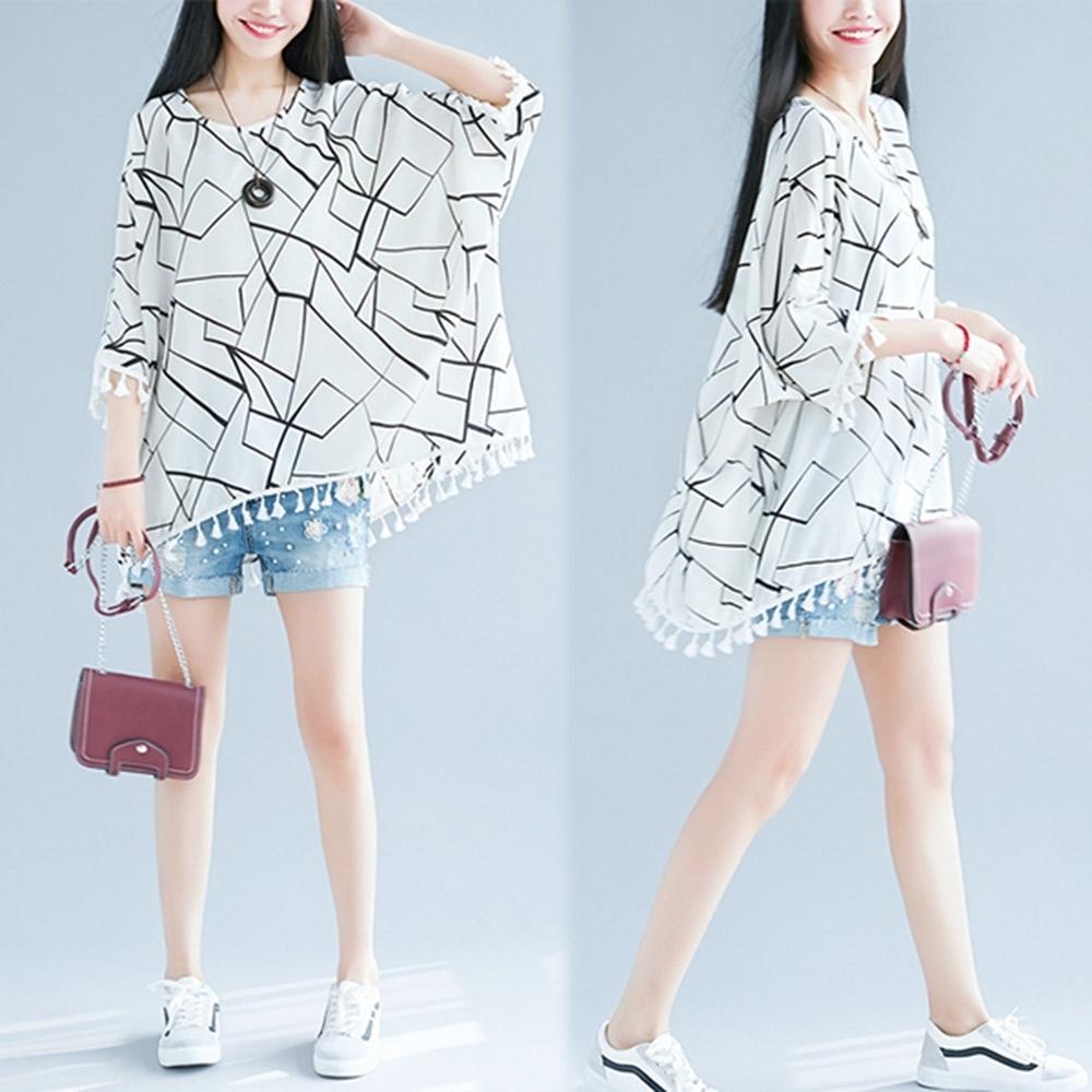 【韓國K.W.】甜心唯美主義流蘇幾何洋裝-2色