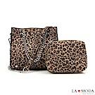 La Moda 性感時尚大容量豹紋肩背斜背子母鏈帶包(杏豹紋)