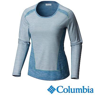 Columbia哥倫比亞 女款-抗曬50快排長袖上衣-藍色UAR21820BL