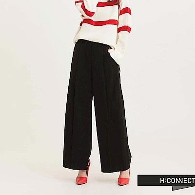 H:CONNECT 韓國品牌 女裝 - 純色俐落打摺寬褲-黑(快)