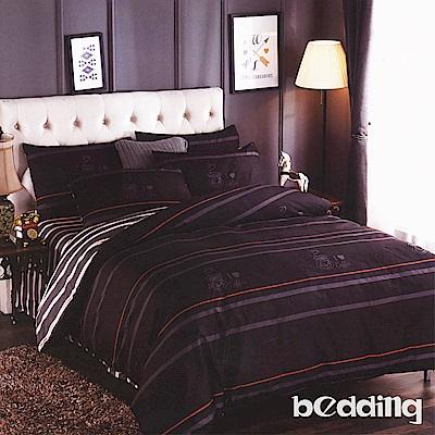 BEDDING-活性印染6尺雙人加大薄床包三件組-愛心咖啡