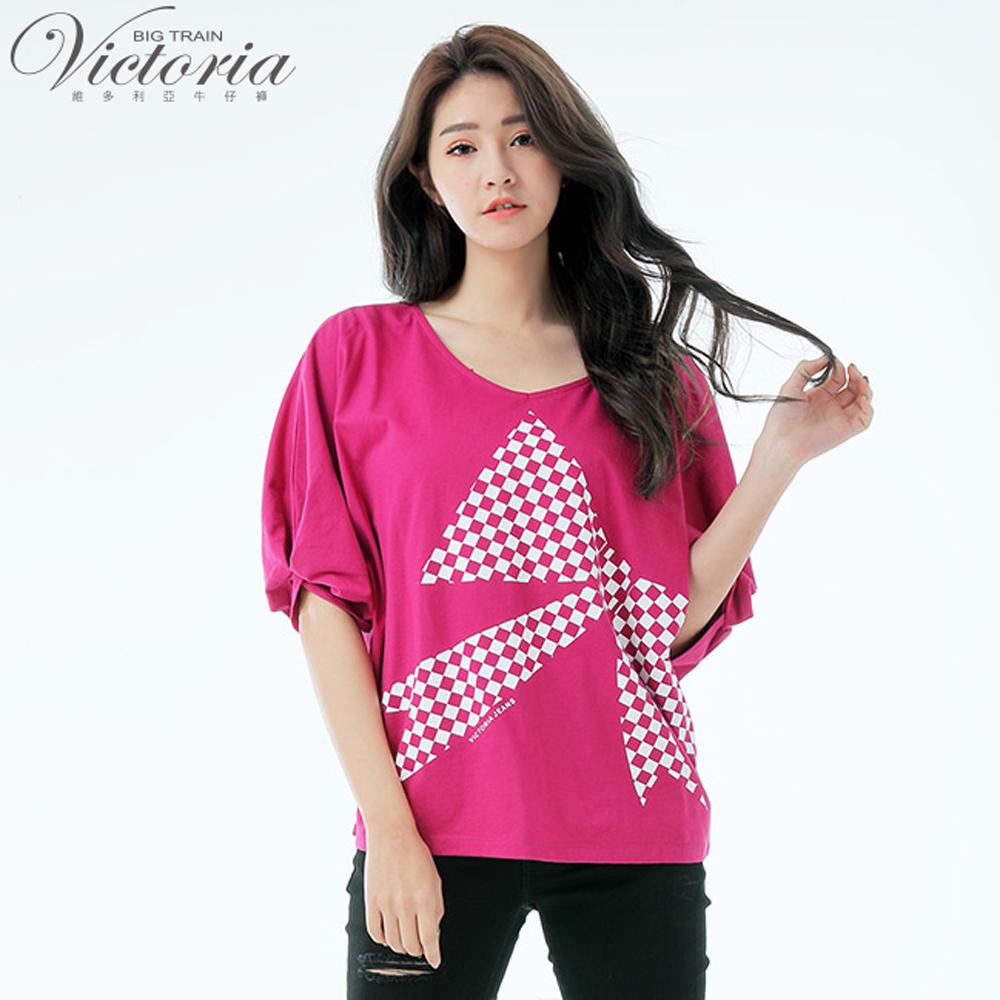 Victoria蝴蝶結印花寬鬆短袖T-女-紫紅