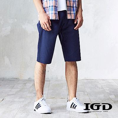 IGD英格麗 都會百搭立體拚接休閒造型短褲-丈青