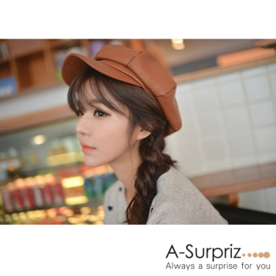A-Surpriz  時尚街頭仿皮革貝雷帽(淺咖)