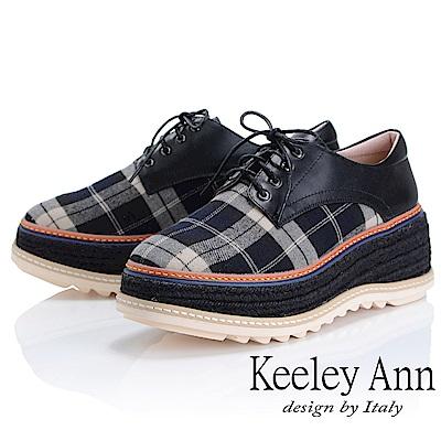 Keeley Ann 簡約百搭~英格蘭風格紋厚底綁帶真皮休閒鞋(黑色-Ann)