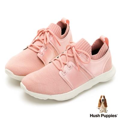 Hush Puppies Bounce Max控濕排汗超細纖維女休閒鞋-粉紅
