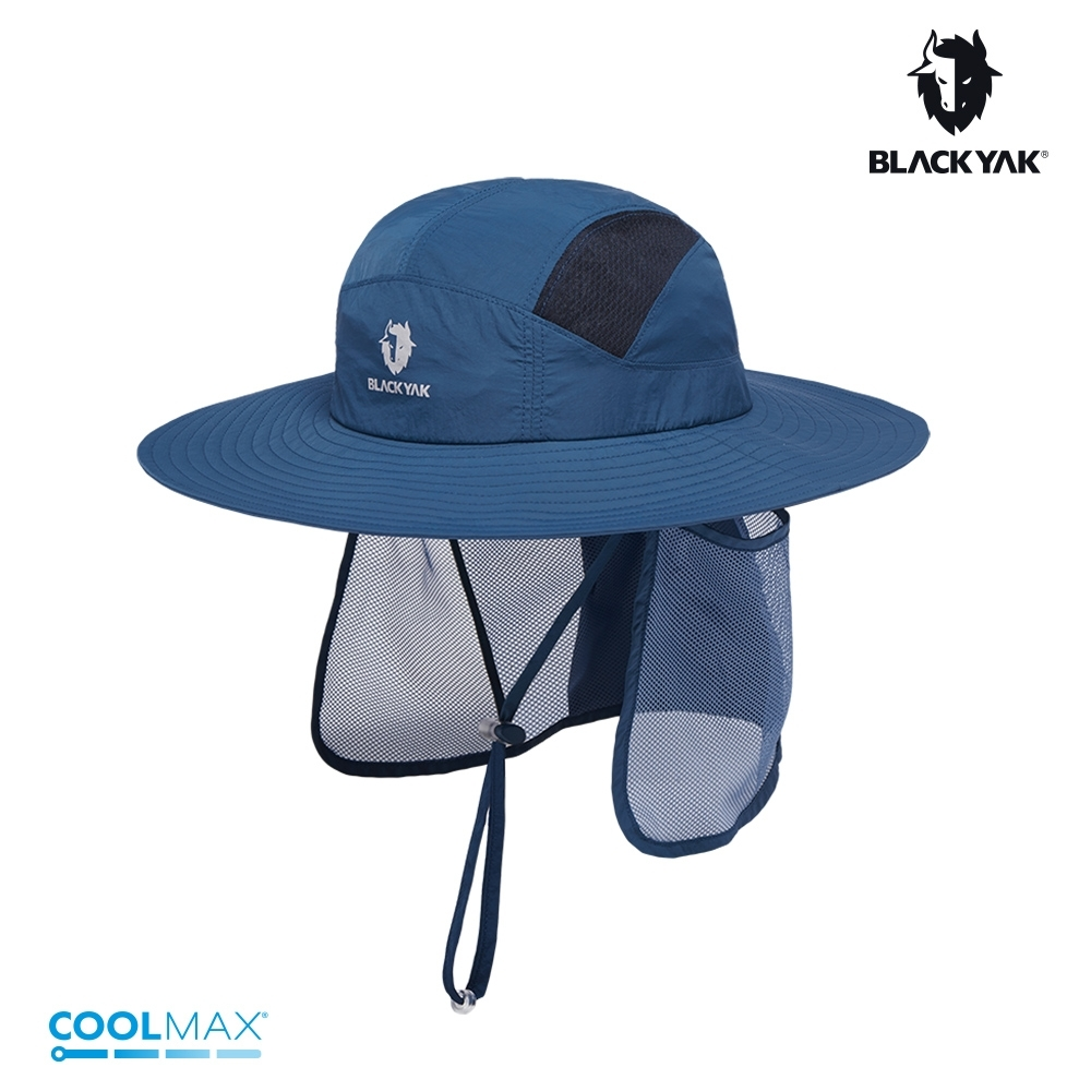 【BLACKYAK】Sahara護頸遮陽圓盤帽[深藍/淺卡其]
