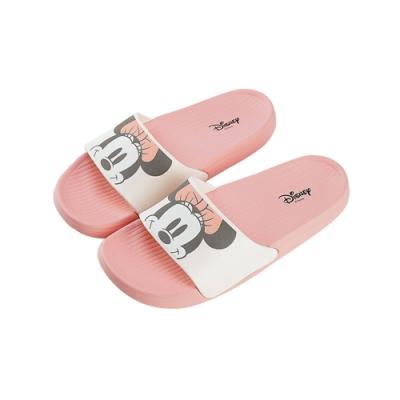 迪士尼親子鞋 米妮 大頭女段休閒拖鞋-白粉