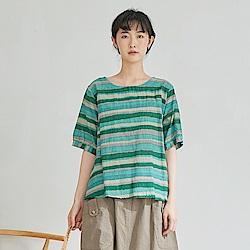 慢 生活 水彩條紋薄款上衣- 淺藍/綠