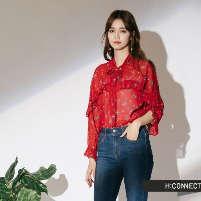 H:CONNECT 韓國品牌 女裝 - 不收邊率性靴型褲-藍(快)
