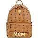 MCM Trilogie 經典塗層帆布皮革後背包(附可拆鍊帶提包/白蘭地色) product thumbnail 1