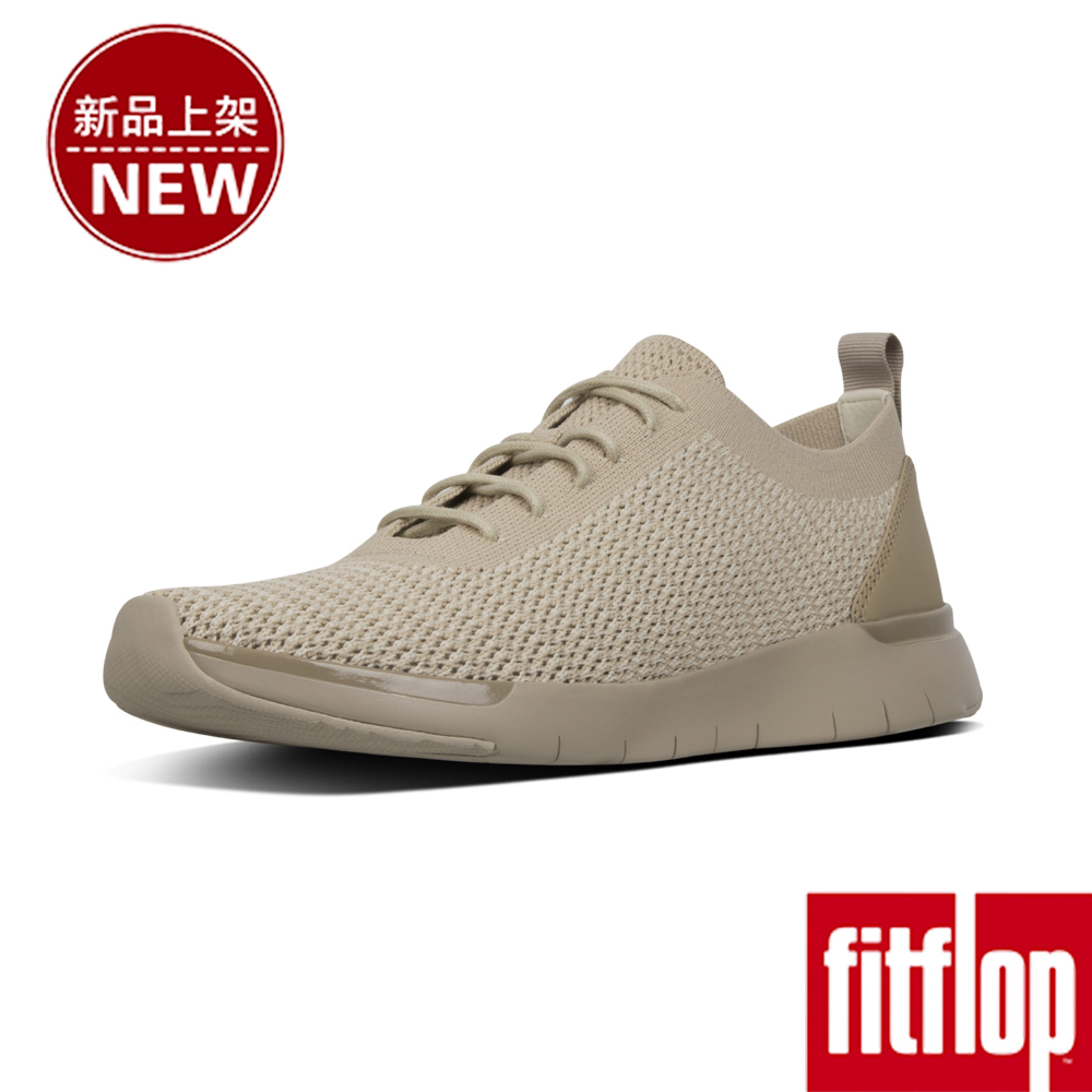 FitFlop FLEXKNIT LACE-UP SNEAKERS-淺礫色