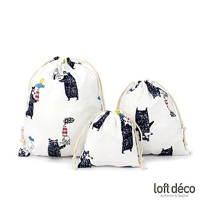 Loft Deco | Black bear | 束口袋三件套